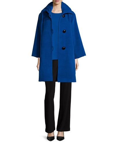 Soft Coated Mid-Length Coat, Knit Top & Stretch-Knit Straight-Leg Pants, Women's