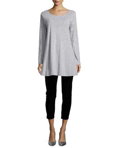 Long-Sleeve Sparkle Tunic & Velour Cropped Leggings, Petite