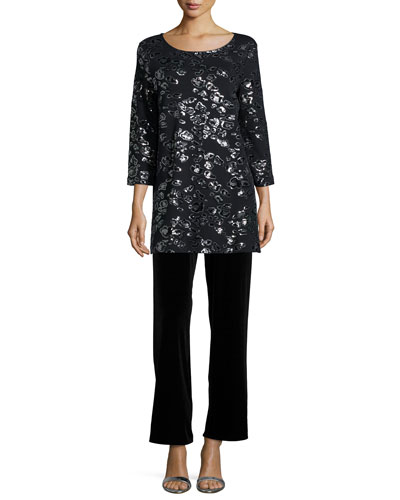 Animal Sequined Tunic & Velvet Wide-Leg Pants, Petite