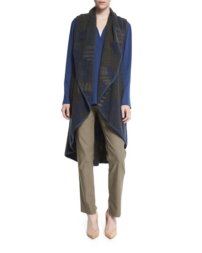 Plush Jacquard Long Vest, Majestic Matte Long-Sleeve Shirt & Slim Wonderstretch Pants, Women
