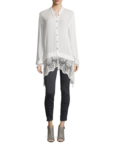 Daisy Blouse with Lace Trim, Basic Slim Cotton Tank & Benatar Ruched Ankle Ponte Leggings, Women's