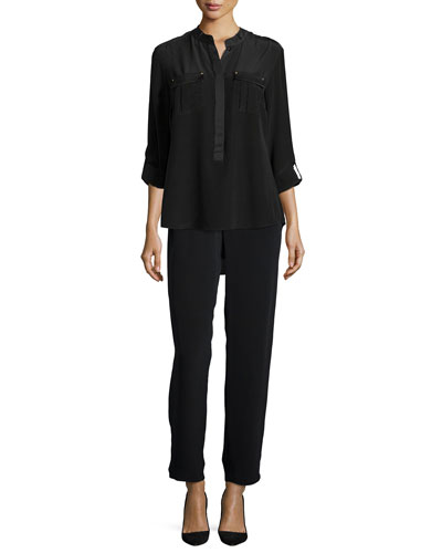 Long-Sleeve Stud-Trim Silk Blouse & Full-Leg Silk Pants, Petite