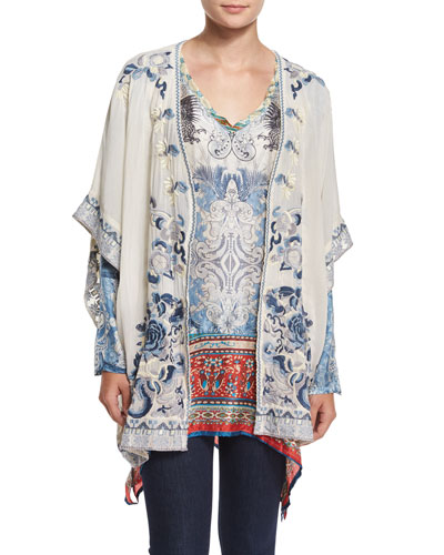 Shakai Embroidered Jacket & Currency-Print Silk Tunic