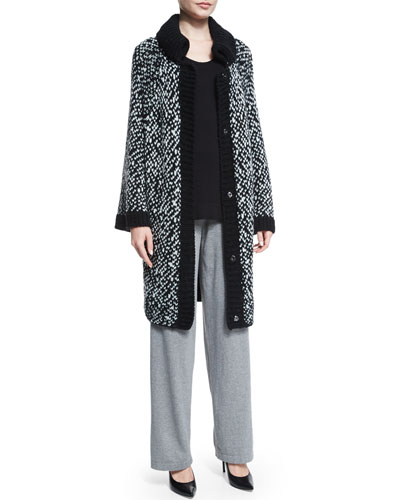 Pattern Drama Cardigan, Scoop-Neck Long Shell & High-Waist Straight-Leg Pants