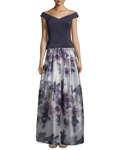 Off-The-Shoulder Structured Top & Floor-Length Floral-Print Skirt