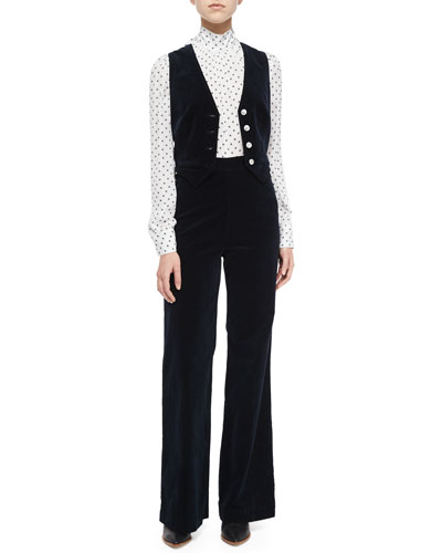 Laura Velvet Vest, Gordonderry Tie-Front Daisy Blouse & Laura High-Waist Wide-Leg Velvet Pants