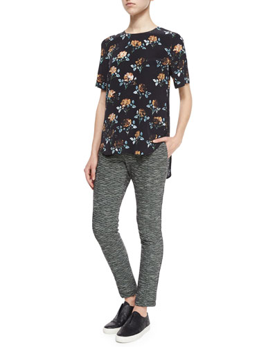 Rose-Print Lace-Inset Top & Stretch-Knit Slim-Leg Pants