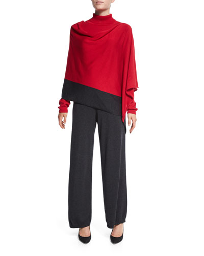 Silk-Cashmere Contrast-Trim Poncho, Silk-Cashmere Long-Sleeve Turtleneck & Silk-Cashmere Wide-Leg Pants, Women