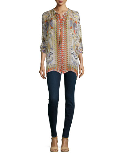 Feather-Print Silk Button-Front Tunic & Braided Long Tassel Necklace
