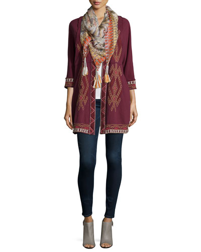 Sophie Embroidered Long Coat & Retro Feather Silk Tassel Scarf