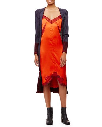 Kristin Ribbed Knit Long Cardigan & Izabella Silk Lace Slip Dress