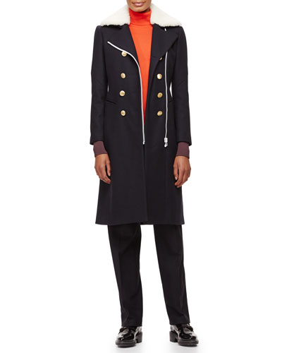 Sullivan Double-Breasted Coat, Jessica Colorblock Turtleneck & Penelope Satin-Inset Pants