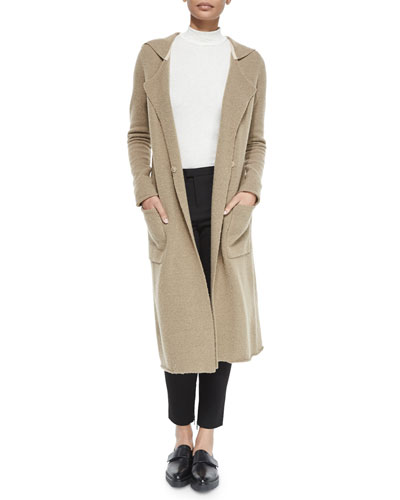 Double-Breasted Long Felt Coat, Mock-Neck Slub Knit Top & Slim Stretch Cargo Pants