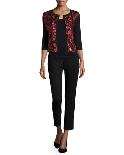 Michael Simon Sequined Floral Button-Front Cardigan & Solid