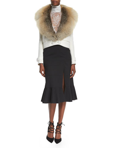 Gray Fox-Fur Collar Crop Jacket, High-Neck Sheer Lace Blouse & Paneled Ruffle-Hem Slit Midi Skirt