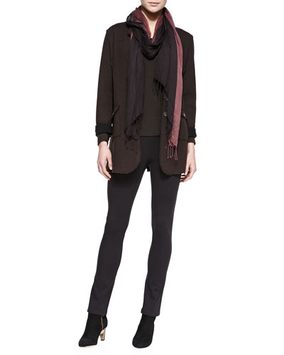 Felted Merino Long Jacket, Long-Sleeve-Slim-Jersey Top, Rayon Knit Skinny Pants & Metallic-Border Striped Modal Scarf
