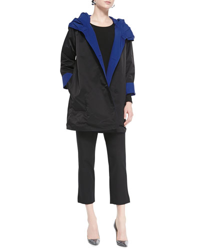 Eileen Fisher Reversible Hooded Rain Coat, Long-Sleeve Slim
