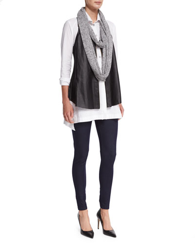 Upstage Perforated Leather Vest, Long Pleated-Waist Tunic, Loop Knit Scarf & Denim Knit Leggings