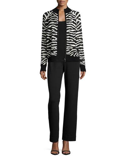 Zebra-Print Zip-Front Jacket, Basic Ribbed Tank & Full-Length Pants, Petite