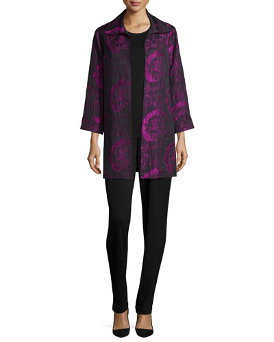 Flower Burst Party Jacket, Knit Tank & Ponte Slim Pants, Women's