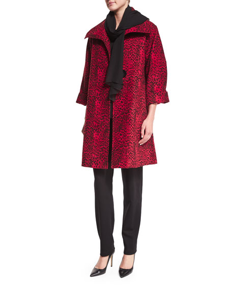 Caroline Rose Leopard-Print Mid-Weight Statement Coat