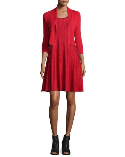 City Slicker Cropped Cardigan & Twirl Sleeveless Knit Dress