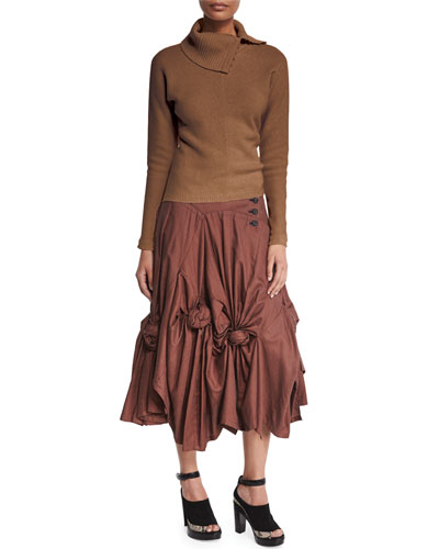 Split-Neck Ribbed Cashmere-Blend Sweater & Rose-Knotted Draped Drop-Waist Skirt