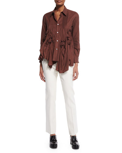 Rose-Knotted Pindot Blouse & Flat-Front Flare Pants