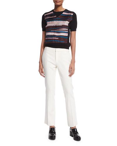 Chiffon-Striped Crewneck Sweater & Flat-Front Flare Pants