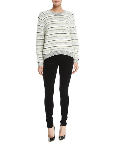 Ramona Striped Long-Sleeve Sweater & Mid-Rise Super-Skinny Jeans