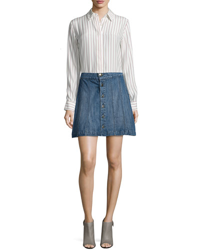 Le Classic Pleat Sleeveless Shirt & Le Panel Mini Skirt