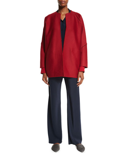 Zimmer Open-Front Jacket, Colorblock Button-Front Blouse & High-Waist Straight-Leg Pants