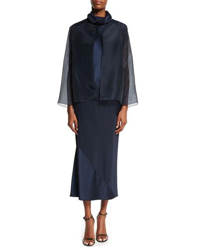 Organza Open-Front Jacket & Turtleneck Bias-Cut Sheath Midi Dress, Navy