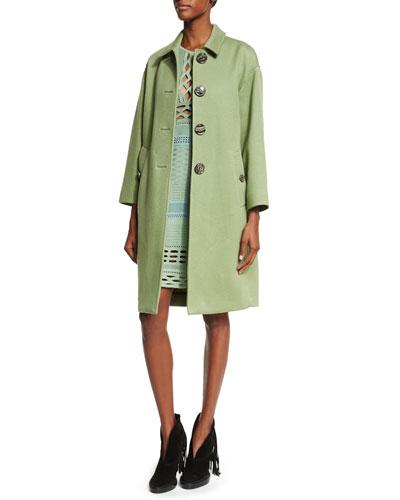 Button-Front Cashmere Caban Coat & Sleeveless Cutout Sheath Dress