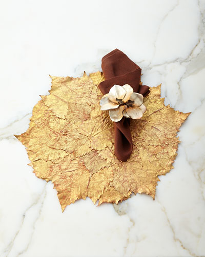 Grape Leaf Placemat, Rustic Weave Napkin, & Luxe Orchid Napkin Ring