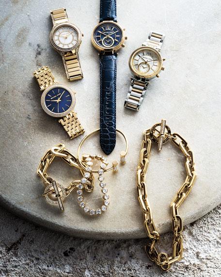 Michael Kors 39mm Sawyer Leather Strap Watch, Navy
