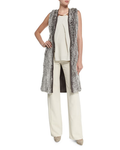 Rabbit Fur Blocked Sweater Vest, Cap-Sleeve Necklace-Detail Top & High-Waist Wide-Leg Pants