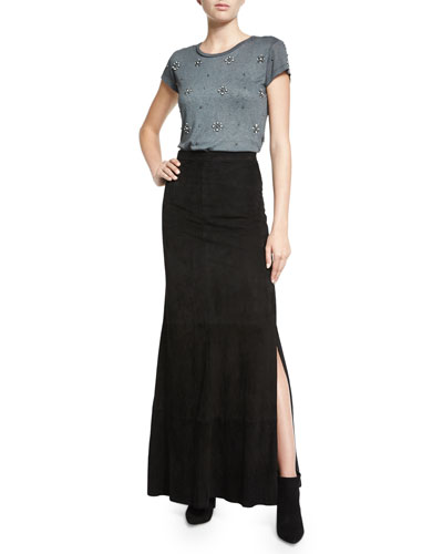 Robin Linen Tee & Persol Suede Maxi Skirt