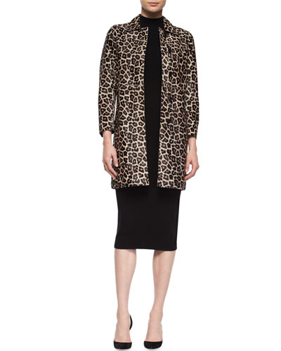 Dafina Leopard-Print Leather Coat & Ulana Evian Dress