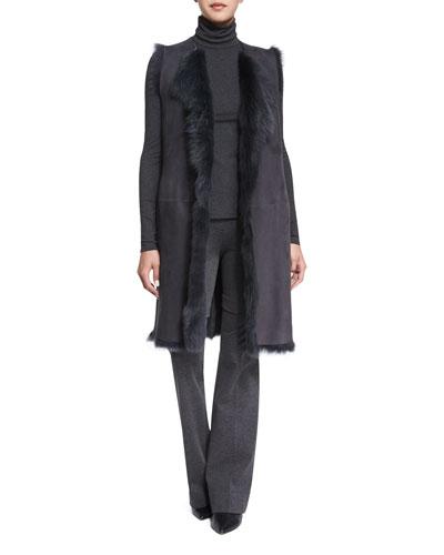 Curako B. Hollice Fur Vest, Eliezer Turtleneck Long-Sleeve Top & Garetto Fixture Ponte Pants