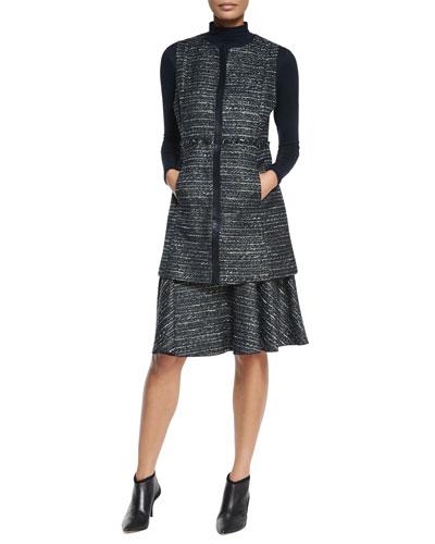Inez Long Tweed Vest, Long-Sleeve Jersey Turtleneck & Kenya Tweed Flounce Skirt