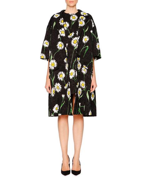 Dolce & Gabbana Daisy-Print Topper Coat, Black/White/Green
