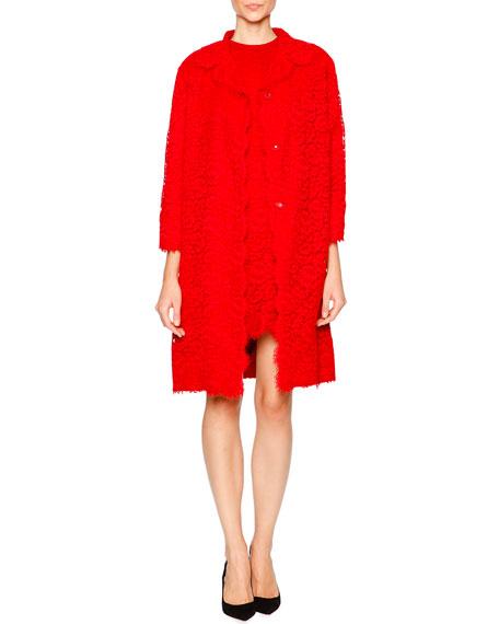 Dolce & Gabbana Cordonetto Lace Topper Coat, Bright