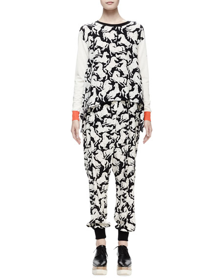 Stella McCartney Long-Sleeve Horse-Print Sweater, Milk/Black
