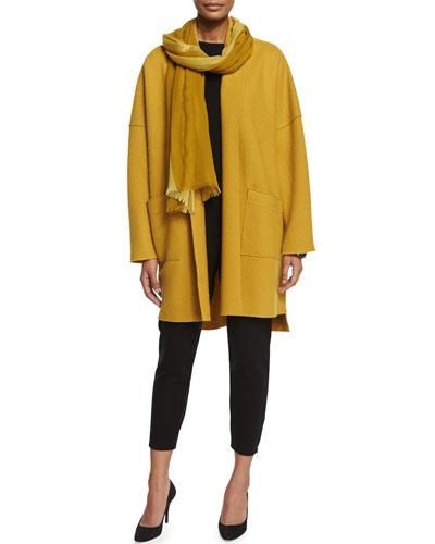 Boiled Wool Kimono Coat, Mustard & Striped Metallic-Border Scarf, Women's