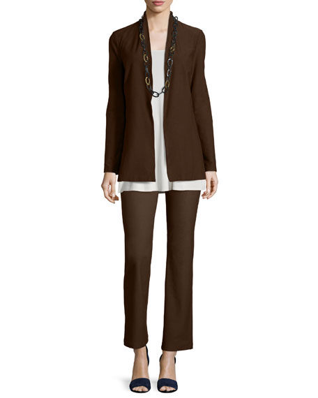 Eileen Fisher Long Washable Crepe Shawl-Collar Jacket, Chocolate