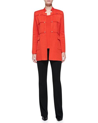 Studded Long Jacket, Scoop-Neck Tank & Boot-Cut Knit Pants, Petite