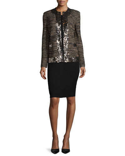 Sequin-Trim Metallic Jacket & Sleeveless Jersey Dress, Women's