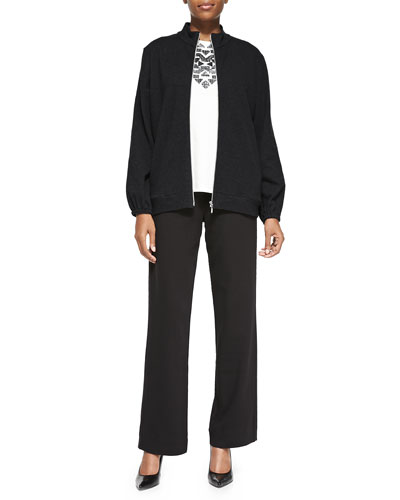 Mock-Neck Zip-Front Jacket, Sequined Sleeveless Shell & Full-Length Pants, Petite