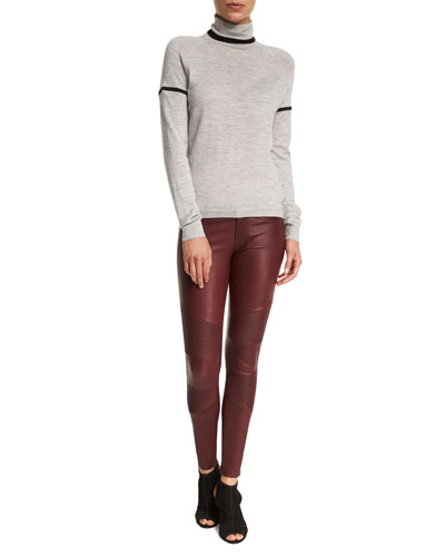 Betty Turtleneck Long-Sleeve Sweater & Tonya Leather Moto Skinny Pants